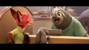 Photo de Zootopie : Judy et Nick avec Flash le paresseux
